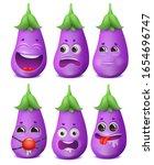 eggplant emoji cartoon... | Shutterstock .eps vector #1654696747