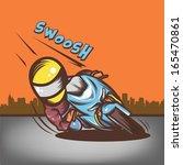 big head rider quick turn | Shutterstock .eps vector #165470861