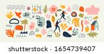 set of trendy doodle and... | Shutterstock .eps vector #1654739407