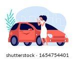 car scratches. sad woman  flat... | Shutterstock .eps vector #1654754401