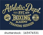 boxing academy   vintage vector ... | Shutterstock .eps vector #165476531
