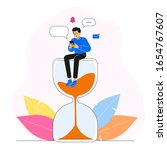 happy man or guy sitting on a... | Shutterstock .eps vector #1654767607