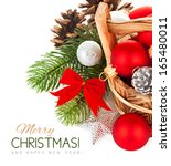 christmas balls with branch... | Shutterstock . vector #165480011