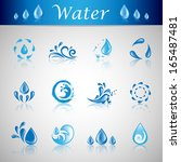 water and drop icons set  ... | Shutterstock .eps vector #165487481
