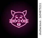 tired cat neon icon. simple...