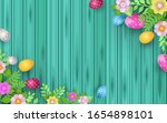 happy easter with decorated... | Shutterstock .eps vector #1654898101