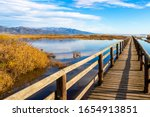 Nature Wooden Boardwalk In Lak...