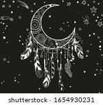 white dreamcatcher with stars... | Shutterstock . vector #1654930231