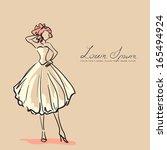 young woman in beautiful dress. ... | Shutterstock .eps vector #165494924