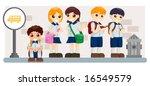 children waiting for school bus ...   Shutterstock .eps vector #16549579