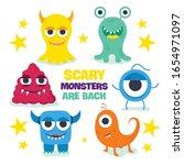 cute cartoon monsters. set of...   Shutterstock .eps vector #1654971097
