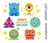 cute cartoon monsters. set of...   Shutterstock .eps vector #1654971247