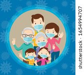 family wearing protective... | Shutterstock .eps vector #1654994707