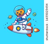 astronaut cat riding on rocket... | Shutterstock .eps vector #1655025454