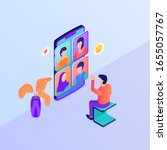 video call group discussion... | Shutterstock .eps vector #1655057767