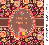 easter greeting card with... | Shutterstock . vector #1655067931