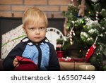 cute little boy and christmas... | Shutterstock . vector #165507449