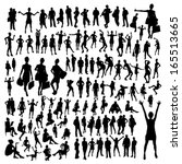 big set of people silhouettes | Shutterstock .eps vector #165513665