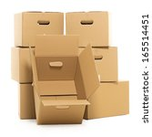 few carton boxes on the white... | Shutterstock . vector #165514451