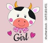 beautiful smile cartoon cow... | Shutterstock .eps vector #1655181451