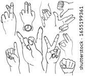 vector set of hands and... | Shutterstock .eps vector #1655199361
