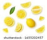 A set of sliced lemon isolated...