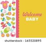 newborn card design. vector... | Shutterstock .eps vector #165520895