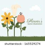 flowers design over sky... | Shutterstock .eps vector #165529274