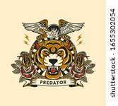 tiger head vector with old...   Shutterstock .eps vector #1655302054
