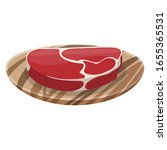 slice of fresh meat on a wooden ... | Shutterstock .eps vector #1655365531