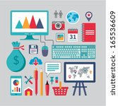 business vector icons in flat... | Shutterstock .eps vector #165536609