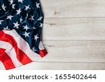Us National Flag On Wooden...