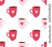 coffee mugs with hearts... | Shutterstock .eps vector #1655410024
