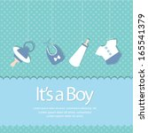 baby boy arrival invitation | Shutterstock .eps vector #165541379
