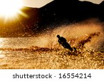 A Male Waterskiing In The...
