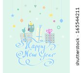 christmas and new year's vector ... | Shutterstock .eps vector #165544211