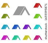 tent multi color icon. simple...
