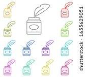 history  quill multi color icon....