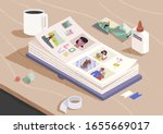 open photo book on the wooden... | Shutterstock .eps vector #1655669017