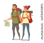 young man with paper map and... | Shutterstock .eps vector #1655692891