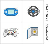 Vector Flat Web Icons. Racing Wheel, Game, Handheld Game Console, Joystick Control, Handheld controller, PC Game, DVD Box Illustration.