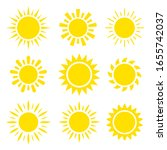 yellow sun icon set 9 in 1 | Shutterstock .eps vector #1655742037