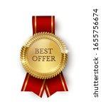 shiny golden round medallion... | Shutterstock .eps vector #1655756674