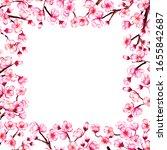 watercolor floral sakura frame. ...   Shutterstock . vector #1655842687