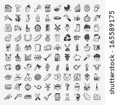 doodle farming icon set | Shutterstock .eps vector #165589175