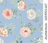 pink dahlia  rose  peony... | Shutterstock .eps vector #1655921167