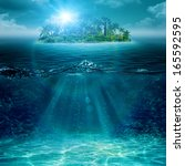 alone island in ocean  abstract ... | Shutterstock . vector #165592595