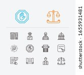 law icons set. crime and law...