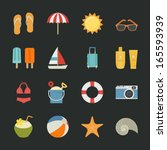 Summer And Vacation Icons With...