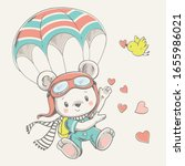 Vector illustration of a cute baby bear parachutist.